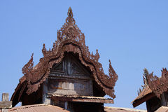Intricate wooden carving of  Shwe Yan Pyay Stock Photo
