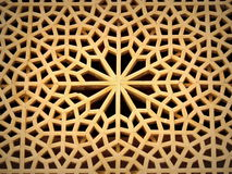 Intricate wooden window with self-sustained geometric pattern design Stock Photography