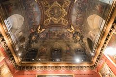 The intricately decorated ceiling inside Louvre museum in Paris. France Stock Images