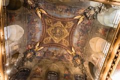 The intricately decorated ceiling inside Louvre museum in Paris. France Stock Photo
