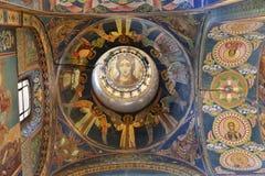 Intérieur de l'église du sauveur sur le sang renversé Image stock