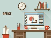 Intérieur de lieu de travail dans la conception plate Photos libres de droits