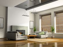 Intérieur de maison avec la cheminée Photo stock