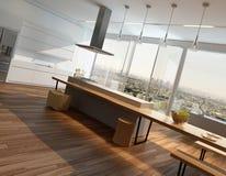 Intérieur ensoleillé moderne de cuisine avec le plancher en bois Image stock