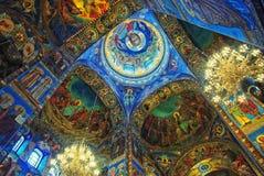 Intérieurs d'église sur le sang renversé dans le saint Photos libres de droits