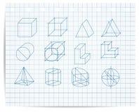 Intrig av geometriska objekt på förskriftsbokpapper Arkivbild
