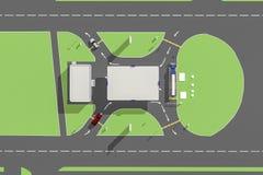 Intrigen av trafik i bensinstationen Fotografering för Bildbyråer