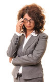 Intrigued business woman Royalty Free Stock Photo