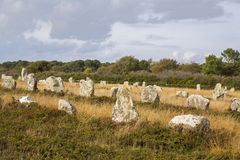 Intriguing standing stones at Carnac in Brittany, north-western France Stock Photography