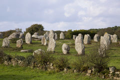 Intriguing standing stones at Carnac in Brittany, north-western France Royalty Free Stock Photography