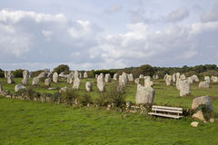 Intriguing standing stones at Carnac in Brittany, north-western France. Intriguing standing stones at Carnac in Brittany in north-western France Royalty Free Stock Image