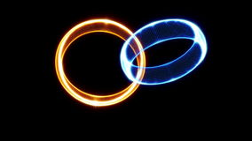 Intro Animation of Golden Ring Rotation on black stock video
