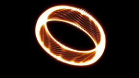 Intro Animation of Golden Ring Rotation on black stock footage