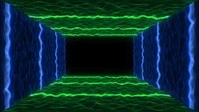 intro för neon för abstrakt begrepp för rörelse för landskap VJ för partikel för stil för 80-talVHS band vektor illustrationer