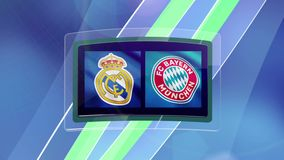 Intro. Real Madrid vs Bayern Munich. Animation for a football match.  stock footage