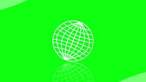 Intro video with earth in wire frame design, introduction to television news, documentary film. Animation on green. Screen, 4k video royalty free illustration