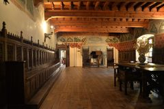 Introd castle, Aosta Valley, Italy. Main hall Royalty Free Stock Photos