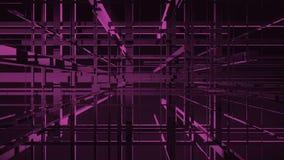 Introdução da transmissão Animação geométrica das linhas e dos cubos 3D de grade ilustração royalty free