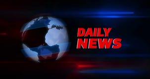 Introdução diária do título do noticiário com o globo no fundo ilustração stock
