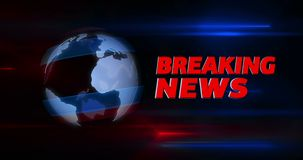 Introdução do título da transmissão de notícias de última hora com o globo no fundo ilustração do vetor