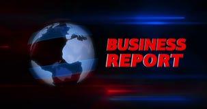Introdução do título da transmissão do relatório comercial com o globo no fundo video estoque