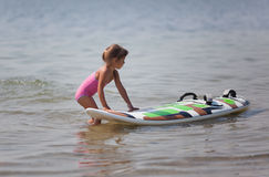 Introdução no windsurfing Imagens de Stock