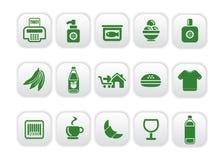Introduca le icone sul mercato Fotografia Stock Libera da Diritti
