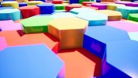 Introducción abstracta del hexágono del color para el vídeo stock de ilustración