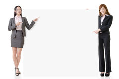 Introduce and hold a blank board Royalty Free Stock Photography