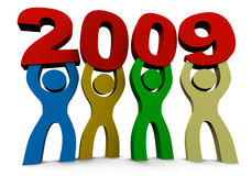 Introducing 2009. Figures holding the numbers of the year 2009 vector illustration