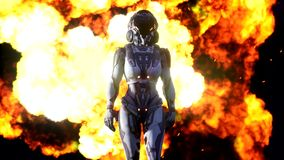 Introducing the astronaut cyber Soldier in front of the explosion stock footage