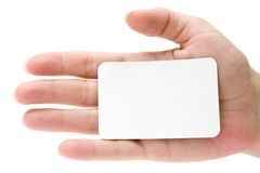 Introducing Herself. Blank business card attached to a hand. Isolated on a white background Stock Images