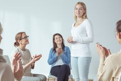 Introducing during meeting stock image