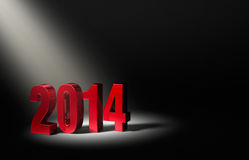 Introducing New Year 2014. Shiny Red 2014 on dark stage, brightly illuminated from upper left by angled spotlight Stock Illustration