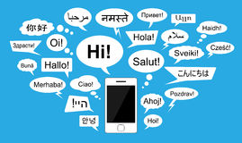Introducing words in 24 languages with chat bubbles. Modern global communication concept. Salutation in 24 world languages. EPS 8 vector file Royalty Free Stock Photo