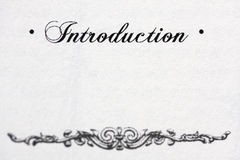 Introduction. A word 'Introduction' on white paper stock photos