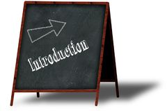 INTRODUCTION in chalk on wooden menu blackboard. Illustration concept Stock Photos