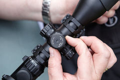 Introduction corrections in rifle shooting. Outdoors Stock Images