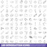 100 introduction icons set, outline style Royalty Free Stock Photo