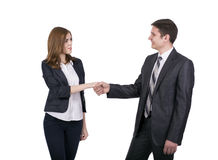 Introduction of male and female business people. Young men and women shaking hands. Business style dress code, white background stock image