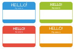 Introduction name card with classic phrase: Hello! My name is, s. Introduction name card with classic phrase: Hello! My name is in 4 different colors and with Royalty Free Stock Photography