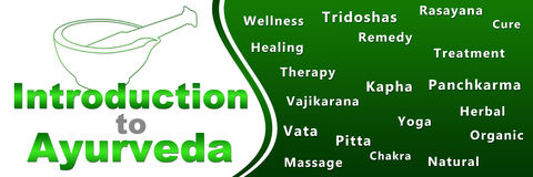 Introduction To Ayurveda Geen Keywords Banner. An image with Ayurveda text with mortar and related keywords vector illustration