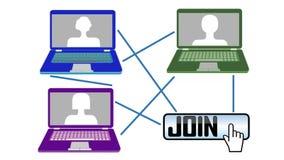 Introduction visuelle à un webinar Joignez à l'Internet apprenant avec votre netbook ou PC, c'est la méthode la plus avancée de f illustration libre de droits