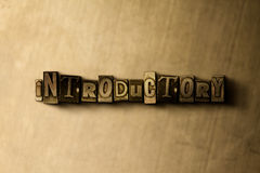INTRODUCTORY - close-up of grungy vintage typeset word on metal backdrop Stock Photo