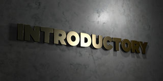 Introductory - Gold text on black background - 3D rendered royalty free stock picture Stock Photo