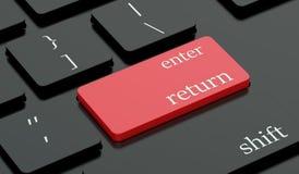 Introduisez la clé de retour et d'un rouge ardent sur le clavier Photographie stock libre de droits
