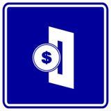 Introduza a moeda no sinal do azul do vetor do entalhe Fotos de Stock Royalty Free