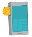 Introduza a moeda no telefone celular ou no móbil Foto de Stock Royalty Free