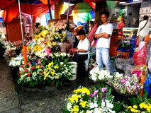 Introduza no mercado o vendedor que vende flores no quiapo nas Filipinas foto de stock royalty free