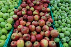 Introduza no mercado prateleiras com verde e as maçãs maduras vermelhas fecham-se acima Imagem de Stock Royalty Free